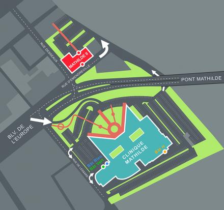 Plans d'accès Clinique Mathilde